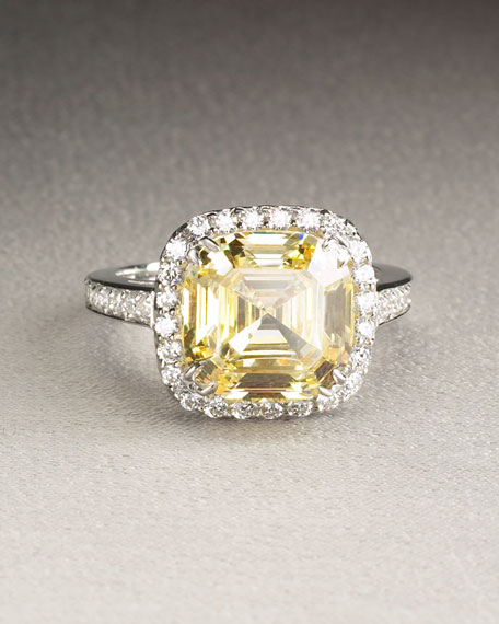 Asscher-Cut Cubic Zirconia Ring, Canary