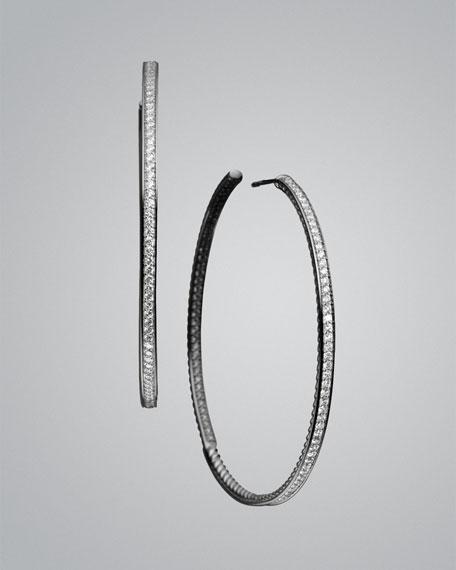 Pave Diamond Hoop Earrings.