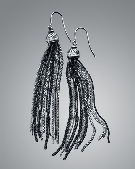 Pave Diamond Graphite Ice Tassel Earrings