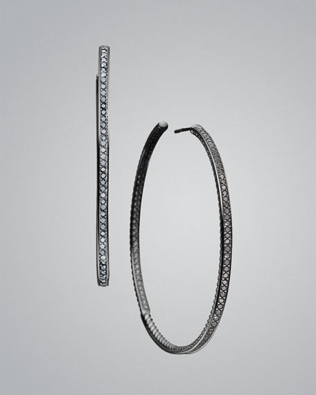 Cable Classics Large Hoop Earrings with Black Diamonds