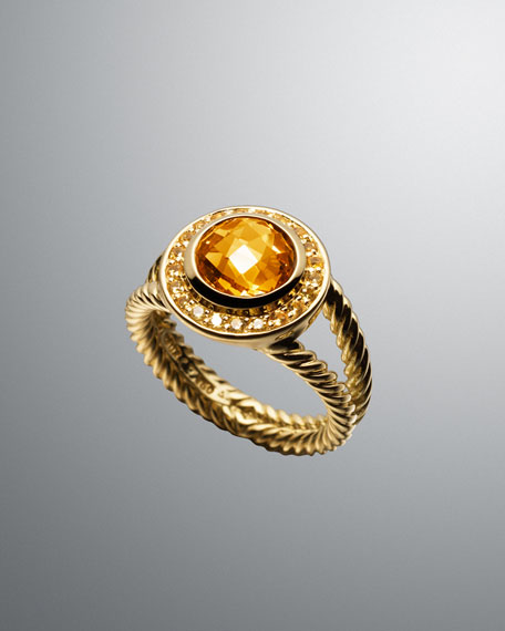 Citrine & Sapphire Cable Candy Ring