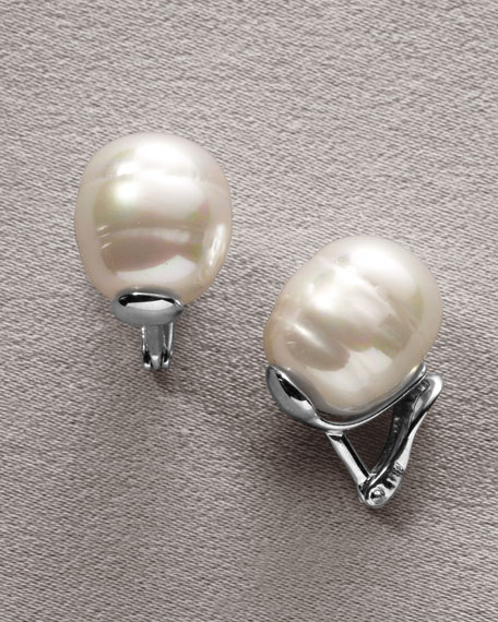 Baroque Pearl & Silver Earrings, Post Backs