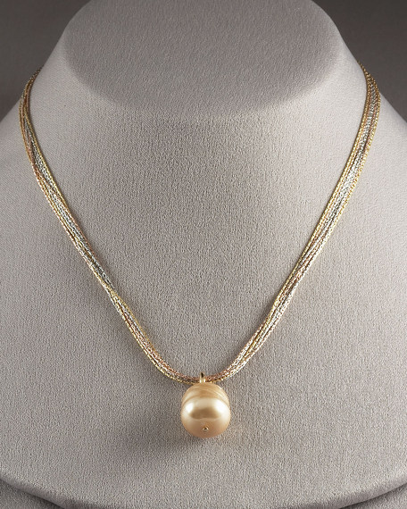 Pearl Pendant Necklace, Champagne