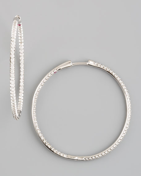 Diamond Hoop Earrings, 1 1/2""