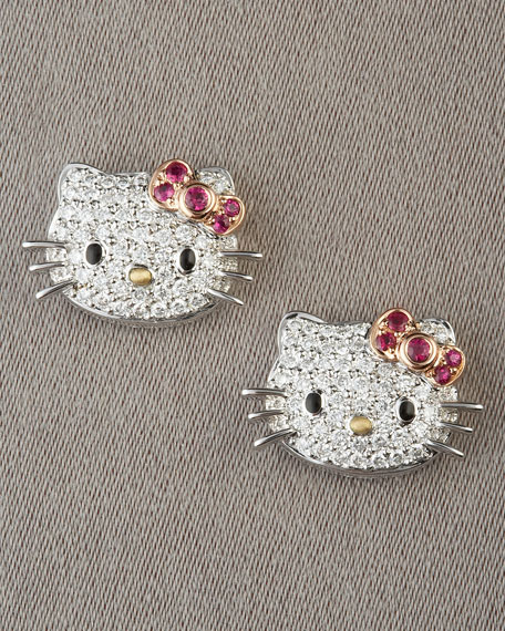 Pave Kitty Stud Earrings