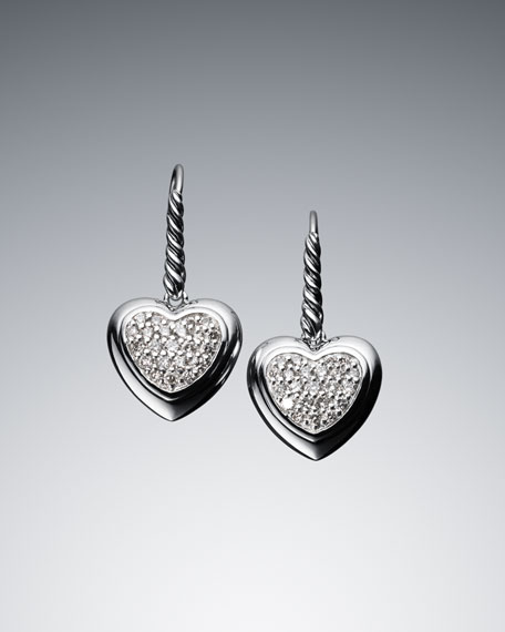Pave Diamond Cable Heart Drop Earrings