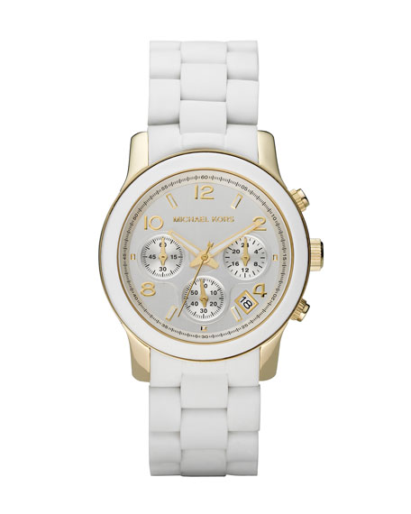 White Midsized Chronograph Watch