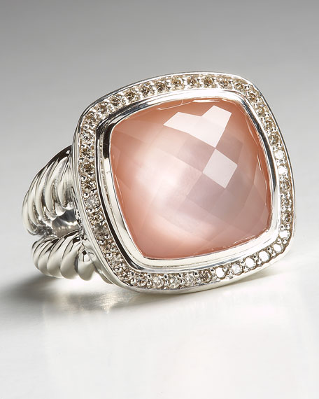 Albion Ring with Rose Quartz and Diamonds