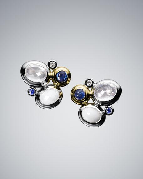 White Oval Mosaic Earrings
