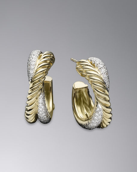 X Collection Small Hoop Earrings with Diamonds