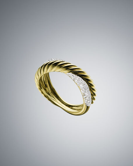 Pave Diamond X Stack Ring