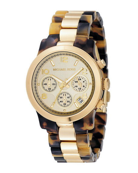 Two-Tone Jet Set Watch, Tortoise/Gold