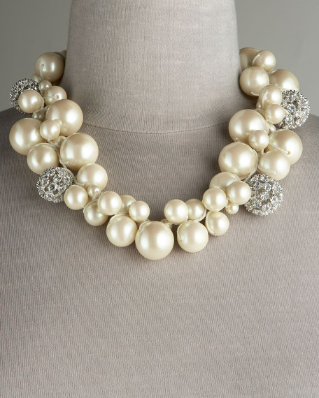 Glass-Pearl Cluster Necklace