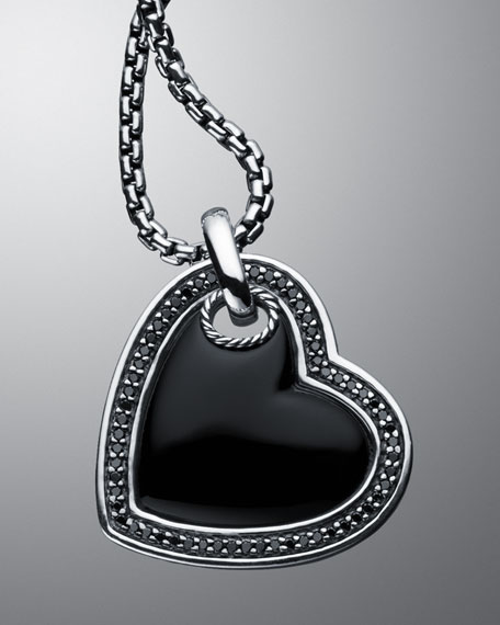 Black Onyx Cable Heart Necklace