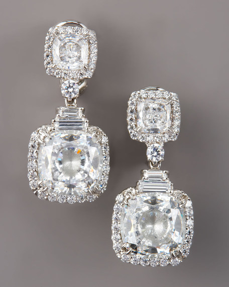 Cubic Zirconia Double-Drop Earrings