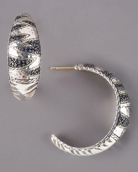 Black Sapphire Hoop Earrings