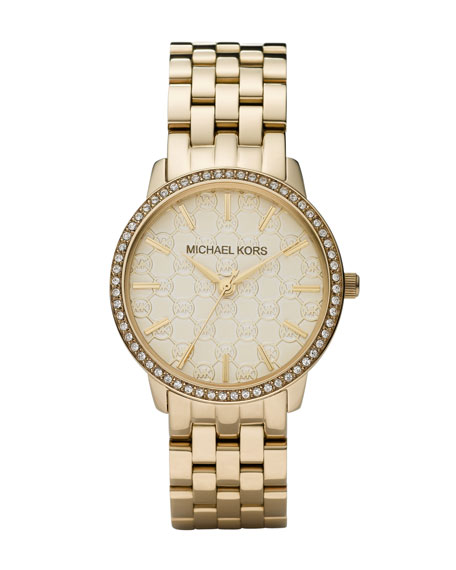 Golden Watch with MK Logo and Glitz