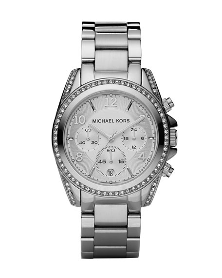 Silver-Color Runway Watch with Glitz