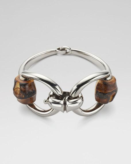 Silver and Bamboo Horsebit Bracelet