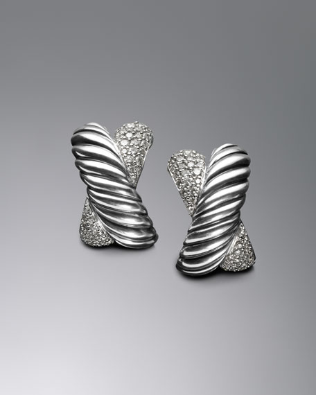 Pave Diamond X Earrings