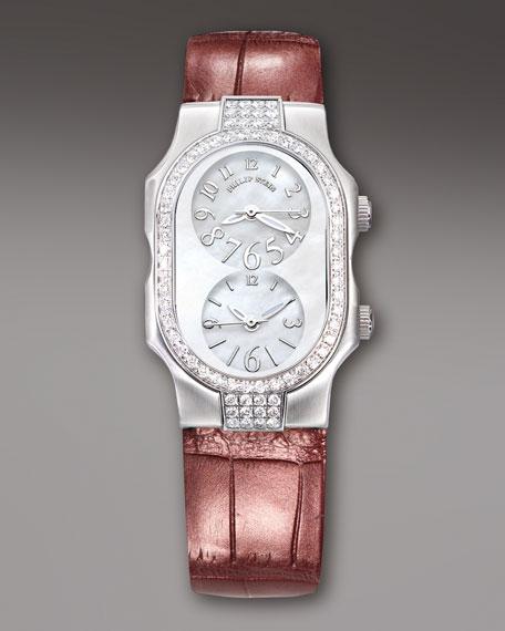 Ladies' Signature Stainless Steel Watch on Interchangeable Red Metallic Alligator Strap