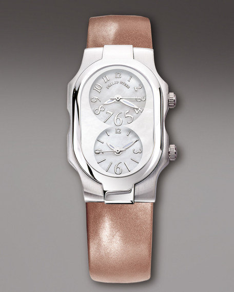 Ladies' Signature Stainless Steel Watch on Interchangeable Bronze Patent Leather Strap