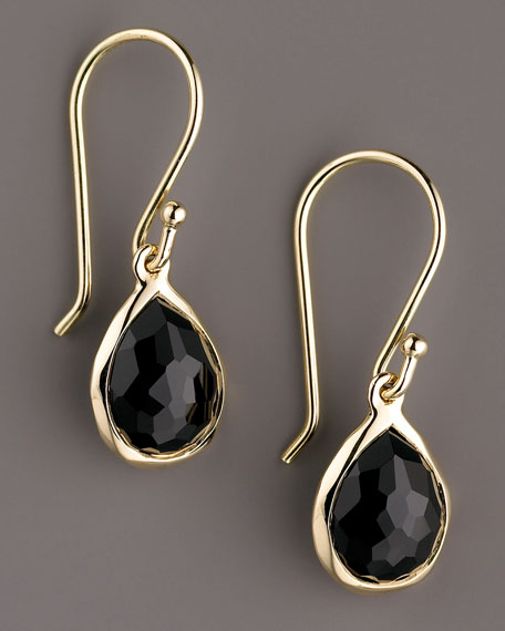 Rock Candy Teeny Teardrop Earrings, Onyx