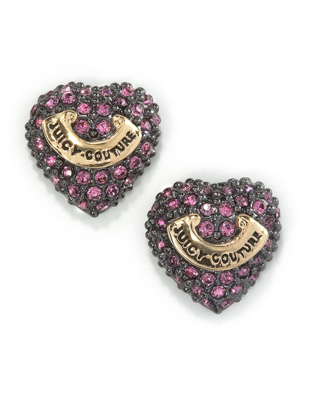 Pave Crystal Heart Earrings