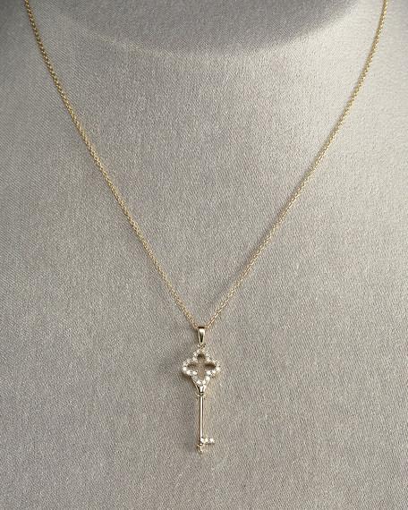 Quatrefoil-Key Necklace, Yellow Gold