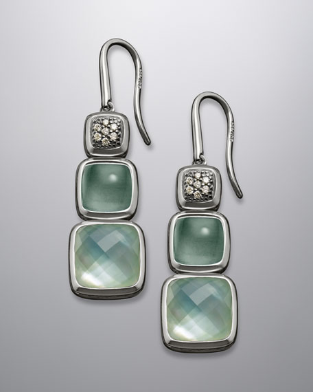Aqua Quartz Three-Drop Cushion Chiclet Earrings