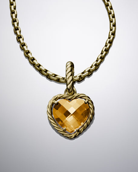 12mm Citrine Cable Heart Charm