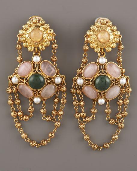 Rose Quartz & Jade Earrings