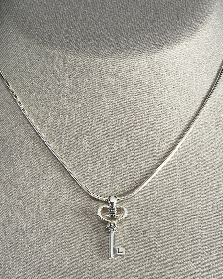 Small Silver Key Necklace