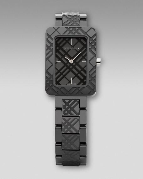 Engraved Ceramic Watch, Black