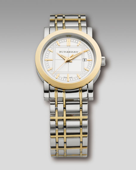 Check-Engraved Bracelet Watch, Two-Tone