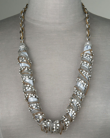 Wrapped Chain & Fabric Necklace