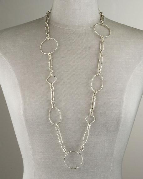 Bamboo Silver Sautoir Link Necklace