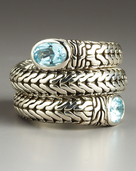 Blue Topaz Double-Coil Classic Chain Ring