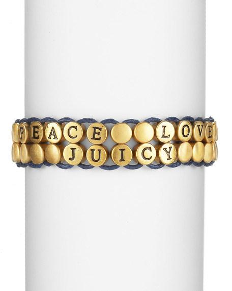 Peace Beaded Bracelet, Blue