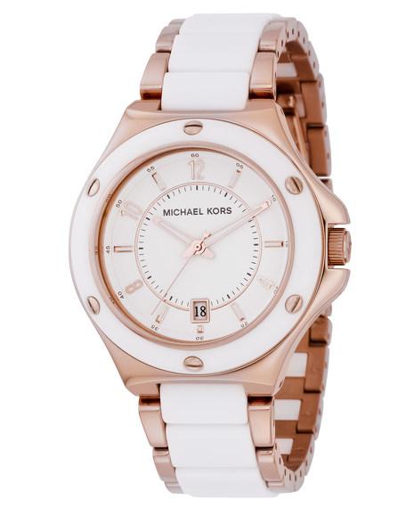 Acrylic Midsize Watch, White/Rose Gold