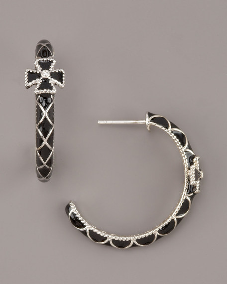 Cross Hoop Earrings, Black