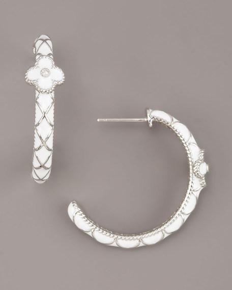 Flower Hoop Earrings, White
