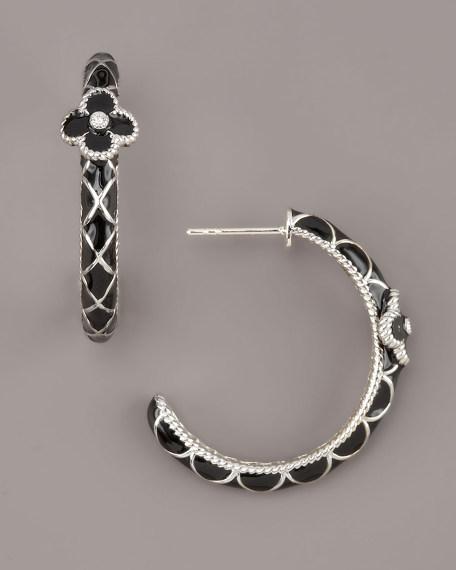 Flower Hoop Earrings, Black