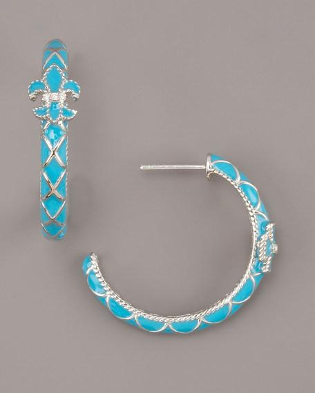 Fleur-de-Lis Hoop Earrings, Turquoise