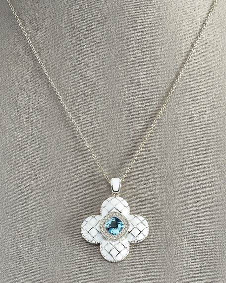 Quilted Flower Pendant Necklace