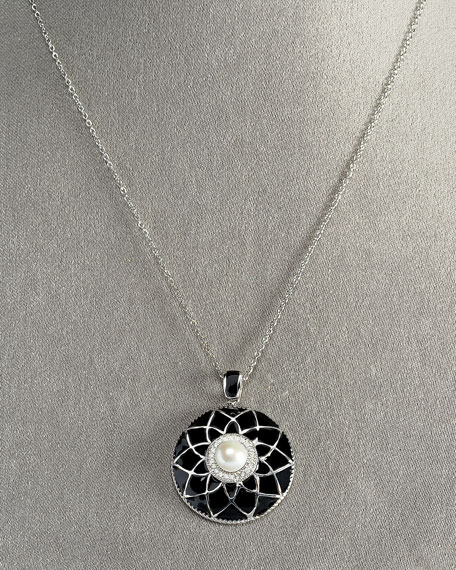 Flower-Disc Pendant Necklace