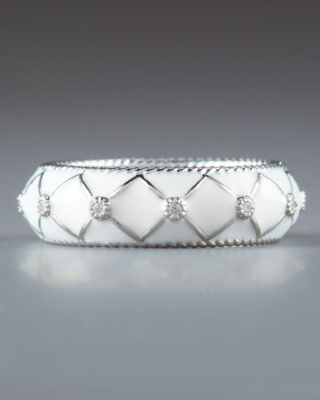 Quilted Pave Woven Ring, White