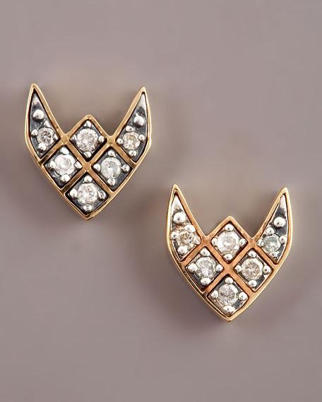 Diamond Crest Stud Earrings