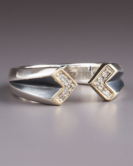 Double-Chevron Diamond Ring