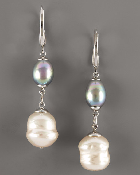 Grey & White Pearl Drop Earrings